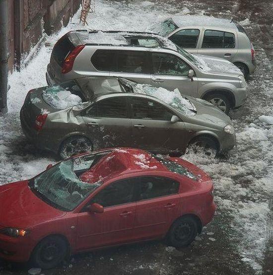 Buzlar eridi arabalar böyle pert oldu galerisi resim 1