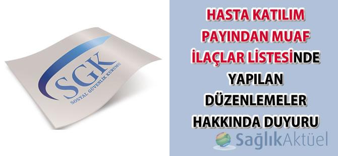 Hasta Katılım Payından Muaf İlaçlar Listesinde Yapılan Düzenlemeler-16.02.2018