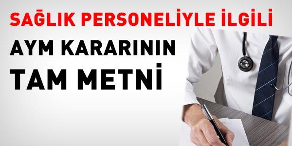 Sağlık personeliyle ilgili AYM kararının tam metni