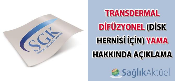 Transdermal Difüzyonel (Disk Hernisi için) Yama hakkında açıklama