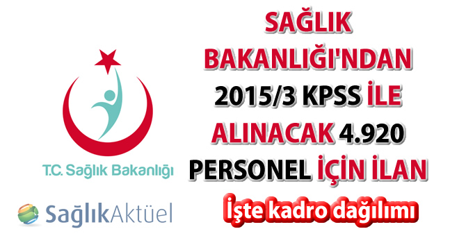 Sağlık Bakanlığı 2015/3 KPSS ile 4 bin 920 personel alacak