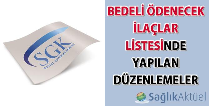 Bedeli Ödenecek İlaçlar Listesinde Yapılan Düzenlemeler Hakkında Duyuru 2015/47