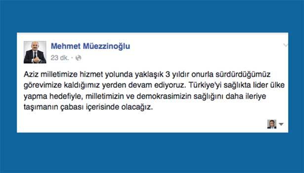 Müezzinoğlu ilk mesajını Facebook ve Twitter'dan verdi: Nerede kalmıştık?
