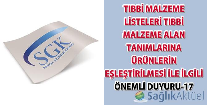 Tıbbi malzeme listeleri tıbbi malzeme alan tanımlarına ürünlerin eşleştirilmesi ile ilgili önemli duyuru-17