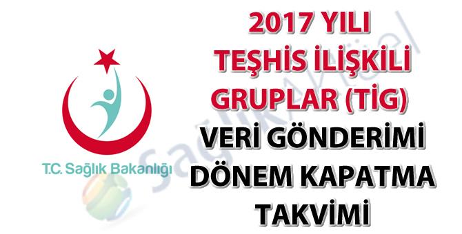 2017 Yılı Teşhis İlişkili Gruplar (TİG) Veri Gönderimi Dönem Kapatma Takvimi