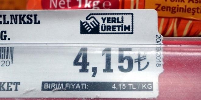 'Yerli üretim' logolu etiketler raflarda