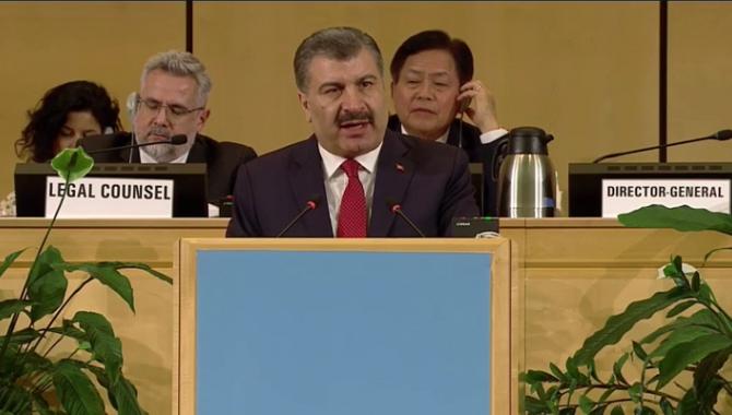 Bakan Koca, Dünya Sağlık Asamblesi Genel Kuruluna Hitap Etti