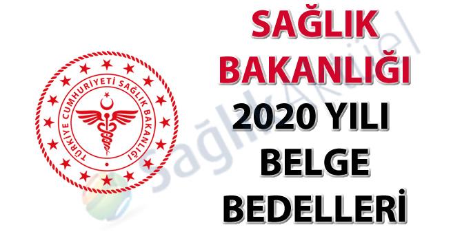 Sağlık Bakanlığı 2020 Yılı Belge Bedelleri