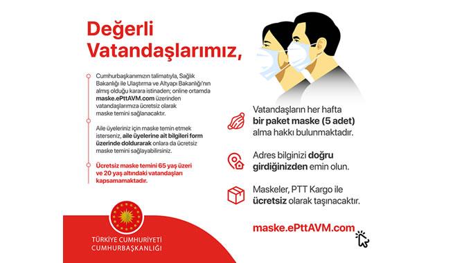 PTT Ücretsiz Maske Dağıtıyor (Başvurular E-devlet'ten yapılacak)