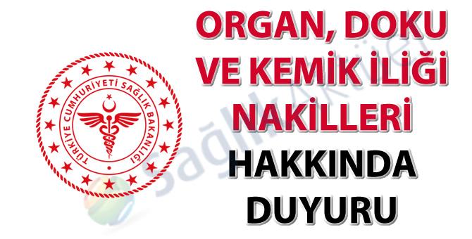 Organ, Doku ve Kemik İliği Nakilleri hakkında duyuru