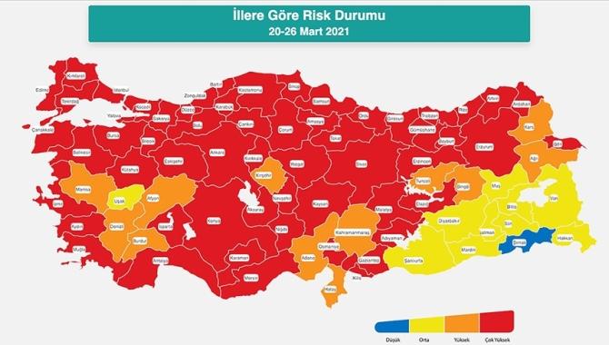 Güncellenen Türkiye Kovid-19 risk haritası açıklandı