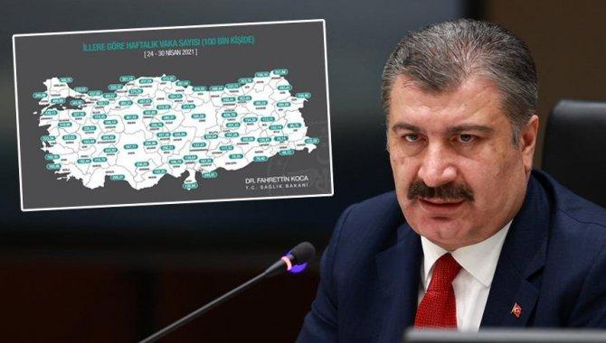 Sağlık Bakanı Koca, Kovid-19 risk haritasında rengi değişen illeri paylaştı:
