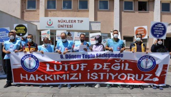 """Nevşehir'de Sağlık-Sen üyeleri """"6. Dönem Toplu Sözleşme Görüşmeleri"""" öncesi taleplerini açıkladı"""