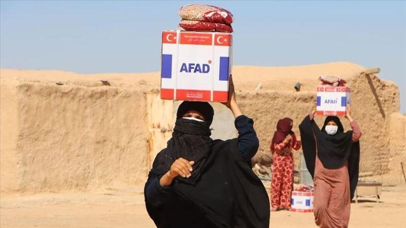 AFAD, Tel Abyad'da Kovid-19 karantinasındakilere 2 binden fazla gıda ve hijyen seti dağıttı