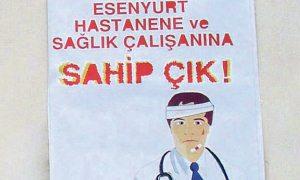 Sağlık çalışanlarından şiddete afişli tepki