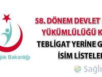58. Dönem Devlet Hizmeti Yükümlülüğü Kurası isim listeleri