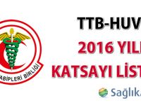 TTB-HUV 2016 Katsayı Listesi