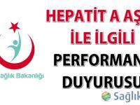 Hepatit A aşısı ile ilgili performans duyurusu