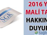 2016 yılı 'Mali Tatil' hakkında duyuru