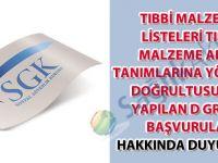 Tıbbi malzeme listeleri tıbbi malzeme alan tanımlarına yönerge doğrultusunda yapılan d grubu başvurular hakkında duyuru-29