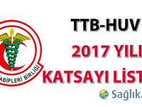 TTB-HUV 2017 Yılı Katsayı Listesi