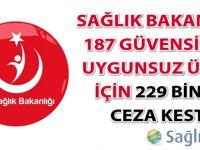 Sağlık Bakanlığı 187 güvensiz ve uygunsuz ürün için 229 bin TL ceza kesti