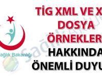 TİG XML ve XSD dosya örnekleri hakkında önemli duyuru