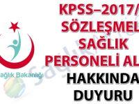 KPSS–2017/5 Sözleşmeli Sağlık Personeli Alımı hakkında duyuru