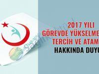 2017 Yılı Görevde Yükselme Sınavı Tercih ve Atama Duyurusu