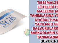 Tıbbi malzeme listeleri tıbbi malzeme alan tanımlarına yönerge doğrultusunda yapılan D grubu başvurulara ait barkodların sisteme tanımlanması duyuru 53