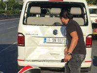 Yeni minibüsüyle kaza yapınca gözyaşlarını tutamadı