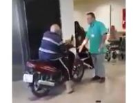 Hastanenin içine motosikletiyle girdi