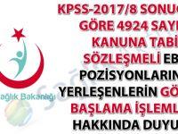 KPSS-2017/8 sonucuna göre sözleşmeli ebe pozisyonlarına yerleşenlerin göreve başlama işlemleri