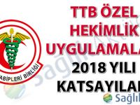 TTB Özel Hekimlik Uygulamaları 2018 Yılı Katsayıları