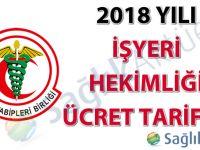 2018 Yılı İşyeri Hekimliği Ücret Tarifesi