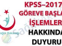 KPSS–2017/8 göreve başlama işlemleri hakkında duyuru
