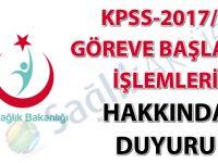 KPSS-2017/8 göreve başlama işlemleri hakkında duyuru