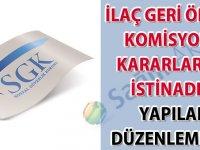 İlaç geri ödeme komisyonu kararlarına istinaden yapılan düzenlemeler hakkında duyuru-25.06.2020