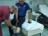 Saldırgan hastane polisinin bacağını ısırdı