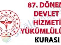 87. Dönem Devlet Hizmeti Yükümlülüğü Kurası ilanı