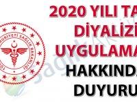 2020 Yılı Tatil Diyalizi Uygulaması hakkında duyuru