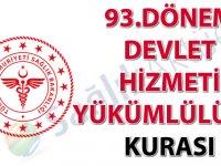 93. Dönem Devlet Hizmeti Yükümlülüğü Kurası İlanı