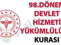 98. Dönem Devlet Hizmeti Yükümlülüğü Kurası İlanı