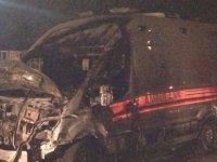 Bursa'da seyir halindeki ambulans yandı