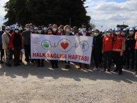 Kırklareli'nde sağlık çalışanları doğa yürüyüşü ile hareketli yaşama dikkat çekti