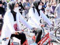 Kayseri'de sağlık çalışanları bisiklet turunda bir araya geldi