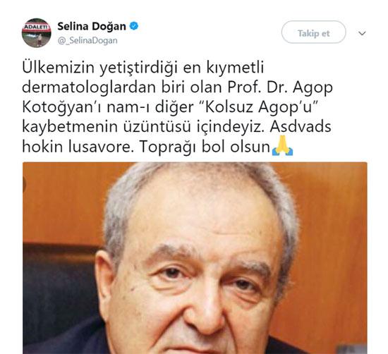 Selina Doğan, Kolsuz Agop'un ölümünü Twitter'da Türkçe ve Ermenice duyurdu.