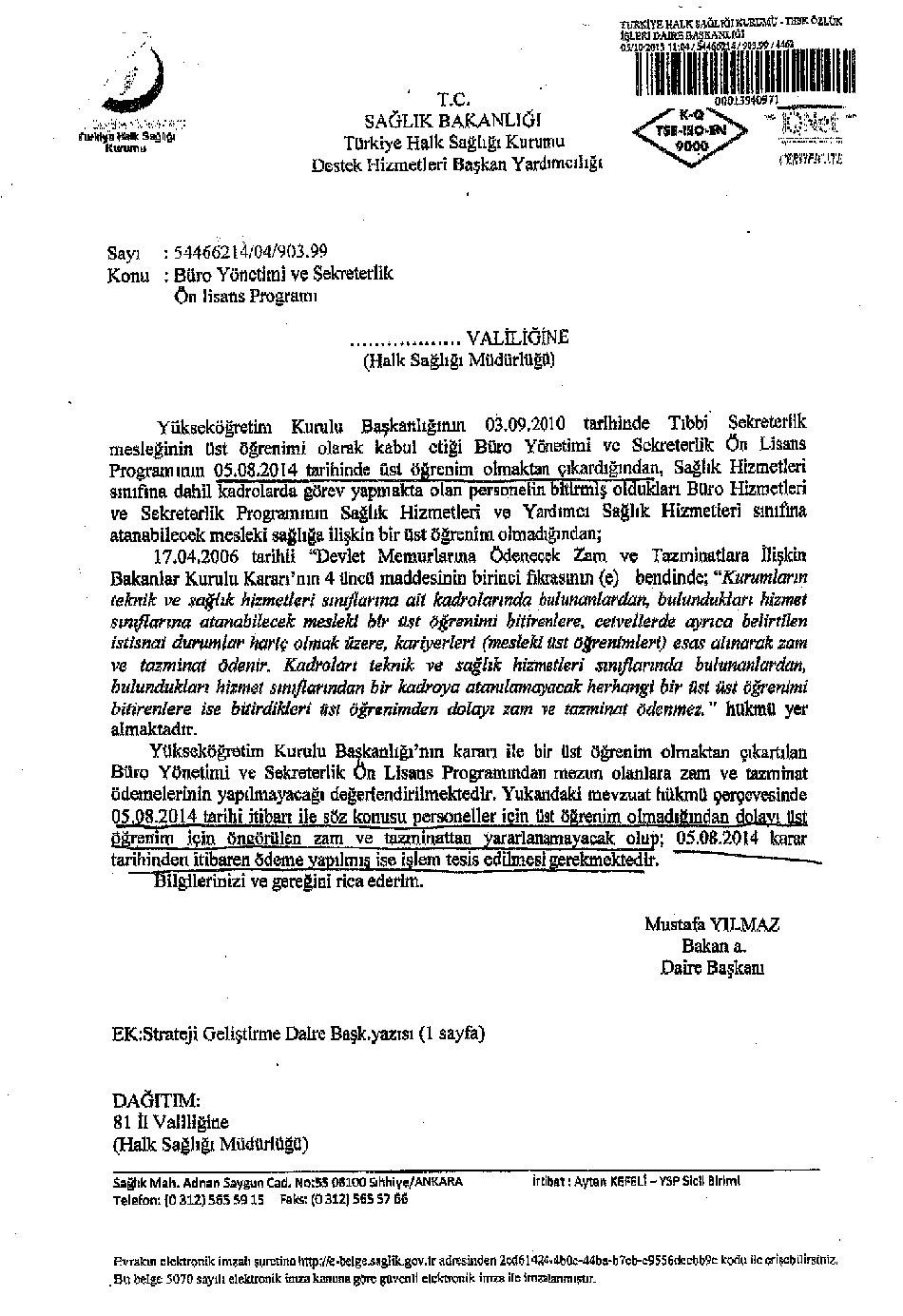 Sağlık Bakanlığının Büro Yönetimi ve Sekreterlik Bölümünün Üst Öğrenim Olmadığına Dair Yazısı