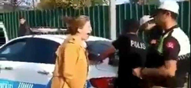 Ehliyetsiz yakalanan öğretmenin çığlıkları polisi isyan ettirdi